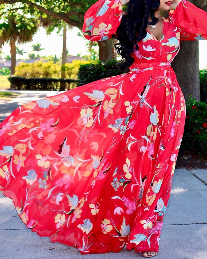 Tropical Print Deep V Belted Warp Maxi Dress