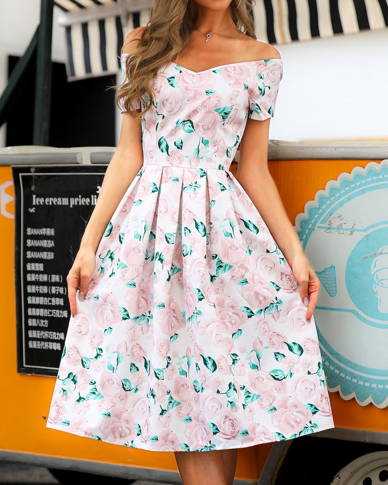 Off Shoulder Floral Print Ruched Dress