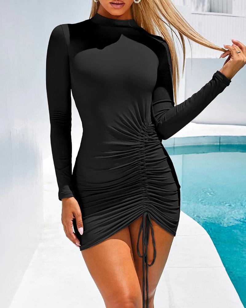 chicme / Vestido acanalado de manga larga con diseño de cordón sólido