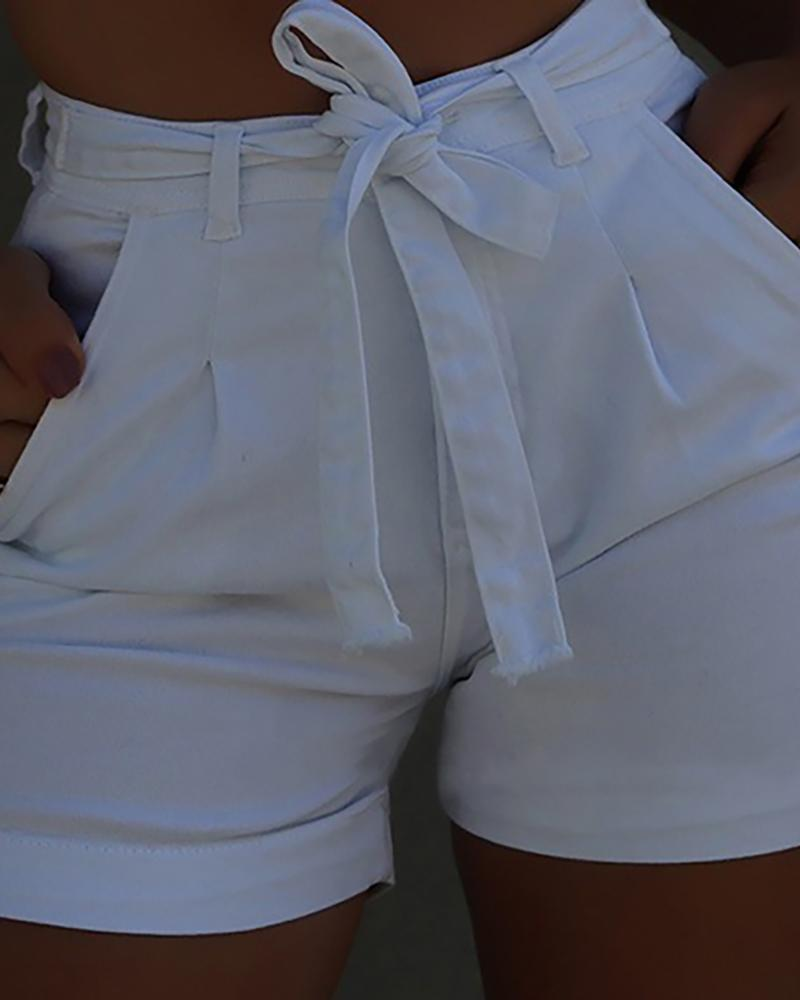 Solid High Waist Denim Casual Shorts фото