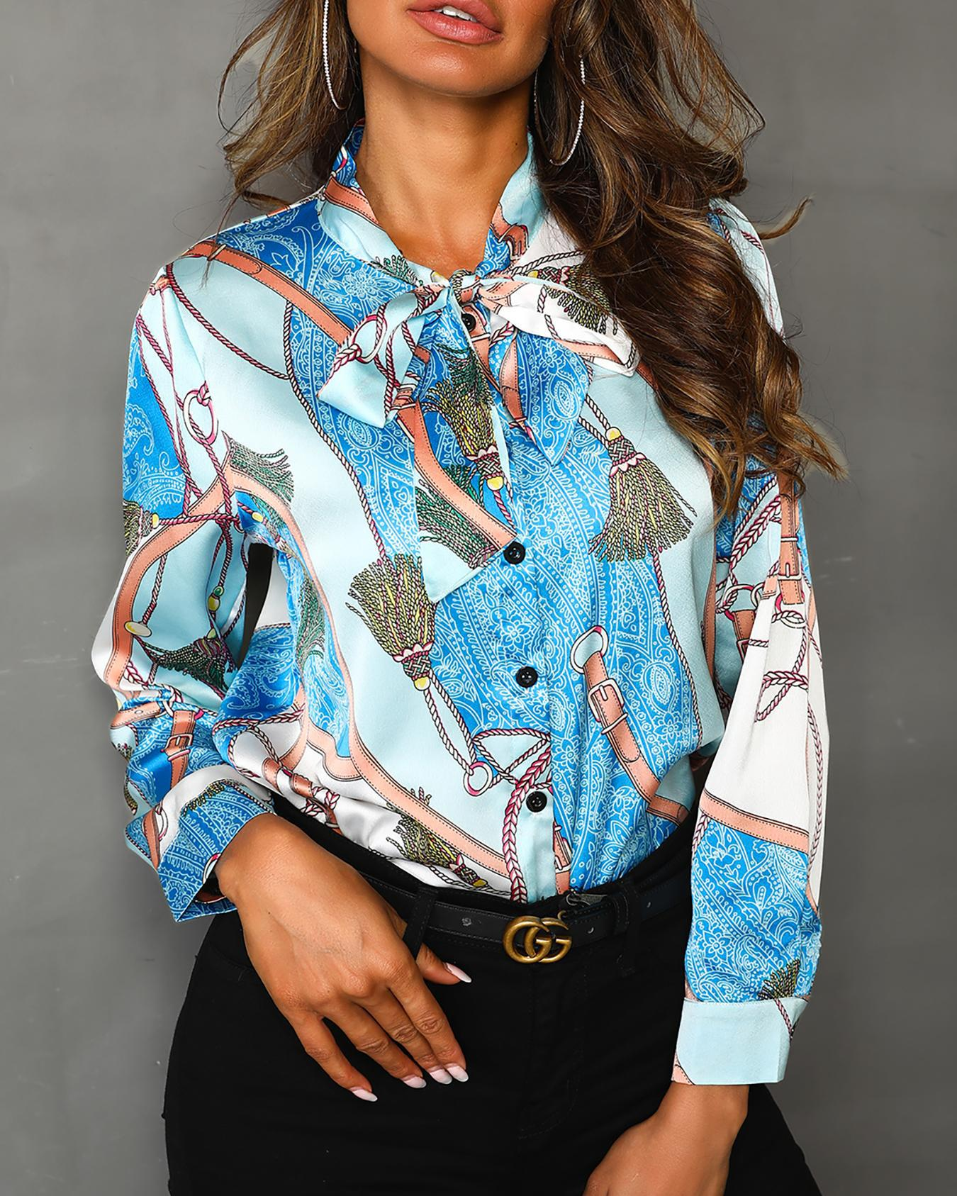 Scarf Print Tied Neck Casual Shirt