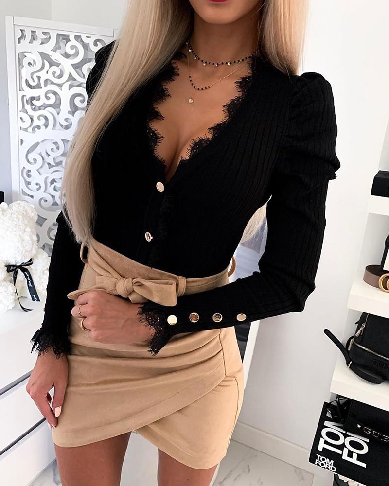 Solid Lace Trim Button-Up Blouse фото