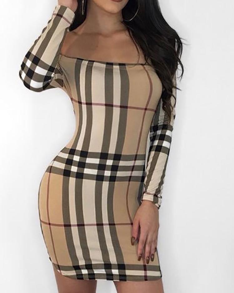 Plaid Print Off Shoulder Long Sleeve Bodycon Dress