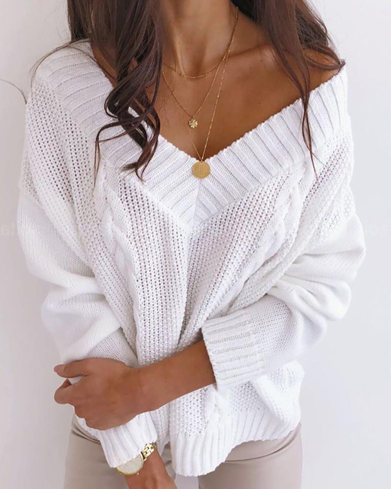 Braided Knit Solid Casual Sweater фото