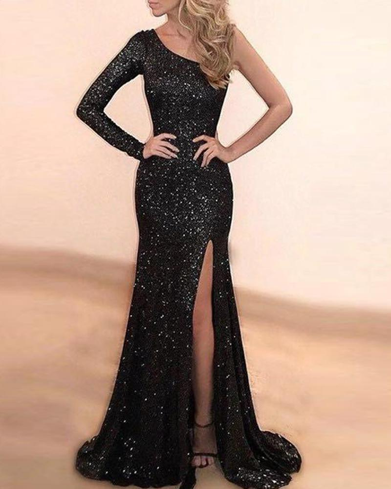 Sequined One Shoulder Maxi Dress фото
