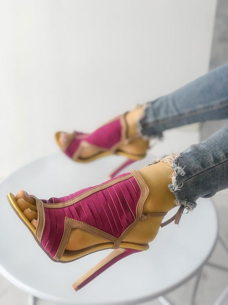 Multi-strap Contrast Color Caged Heeled Sandals фото