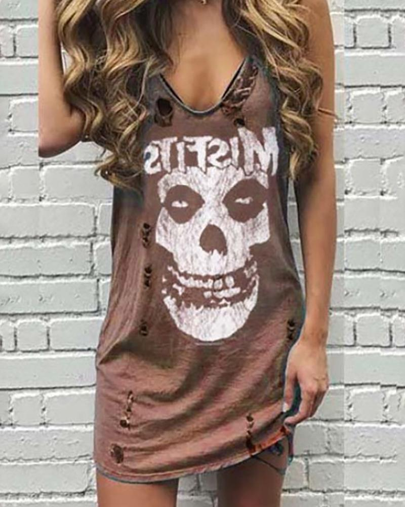 Skull Letter Print Hollow Out Dress фото