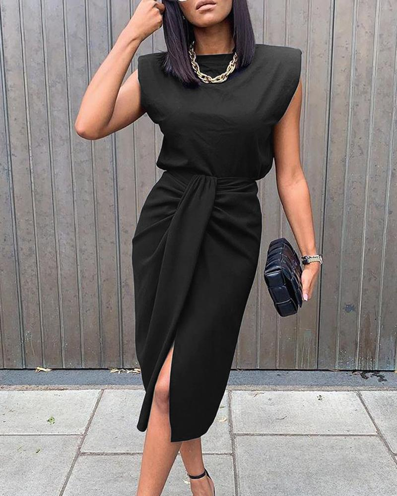 Sleeveless Top & Slit Twisted Midi Skirt Set фото