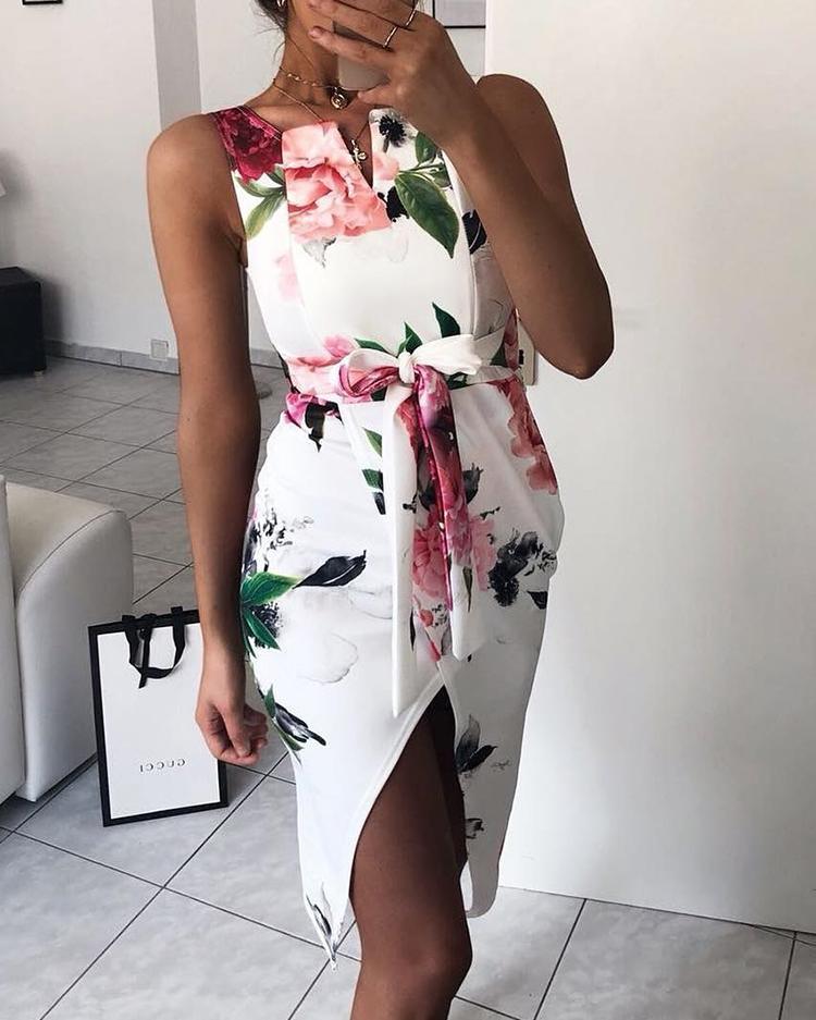 Floral Print Tie Waist Wrap Split Dress фото