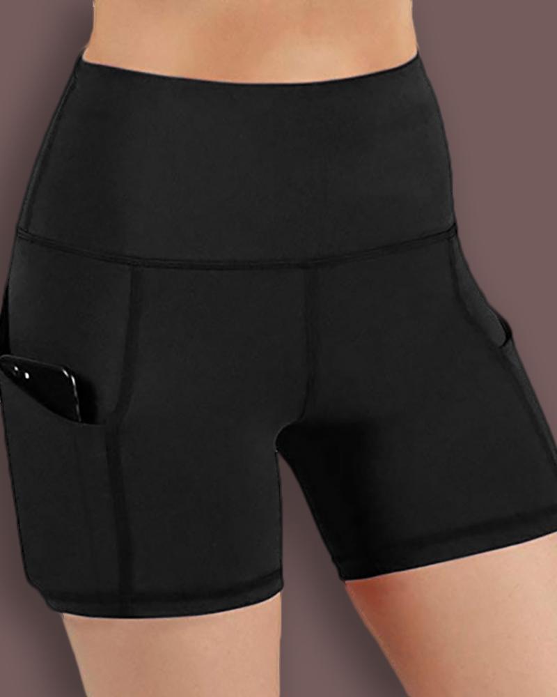 chicme / Pantalones cortos de yoga sólidos con bolsillos de cintura alta