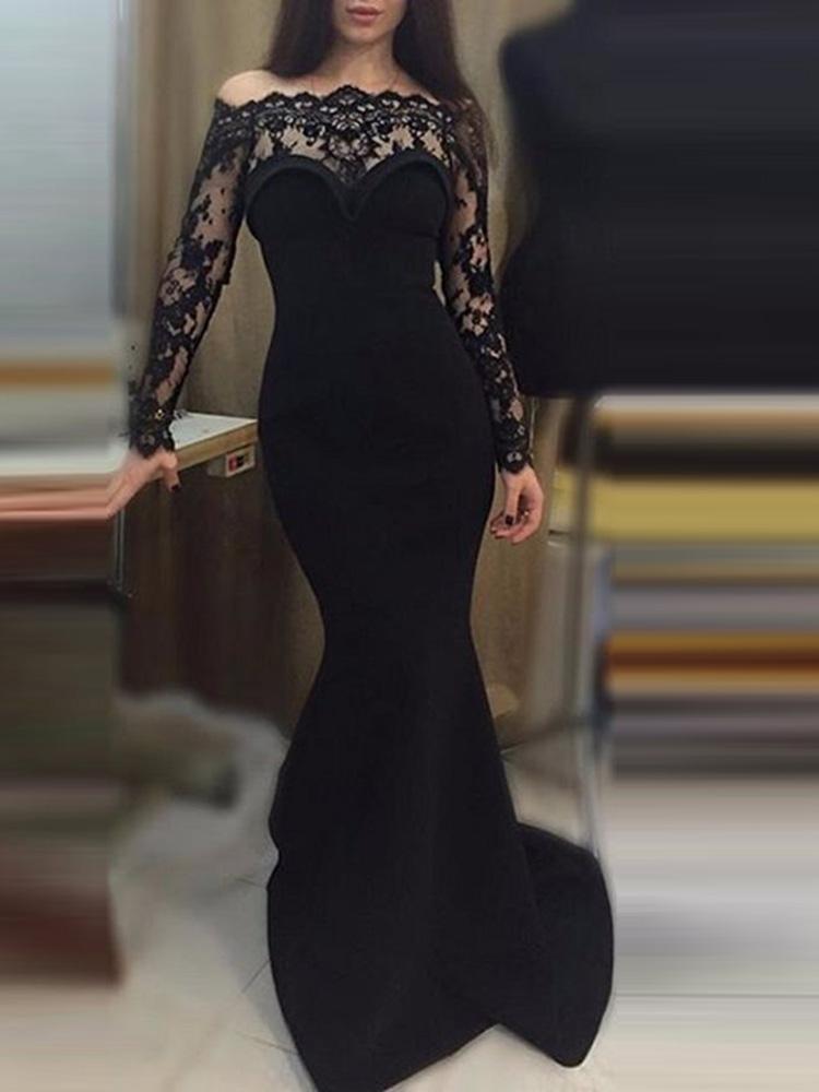 Eyelash Lace Mesh Splicing Evening Dress фото