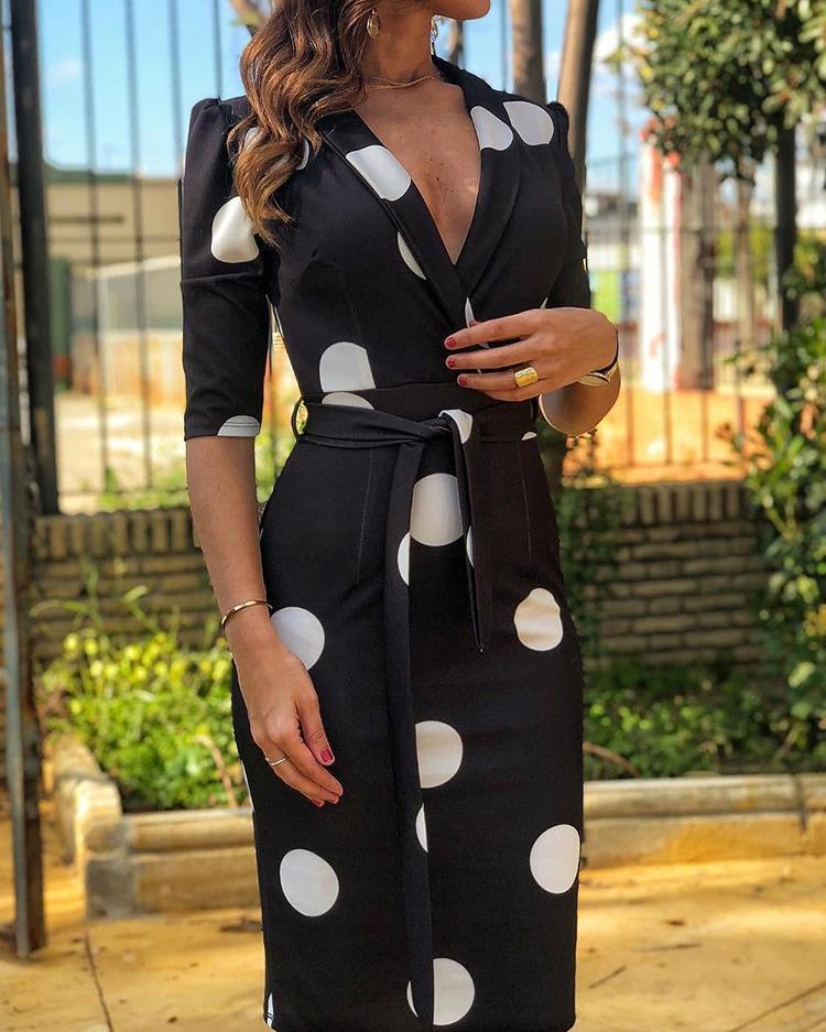 boutiquefeel / Pescoço entalhado ponto impressão vestido de trabalho