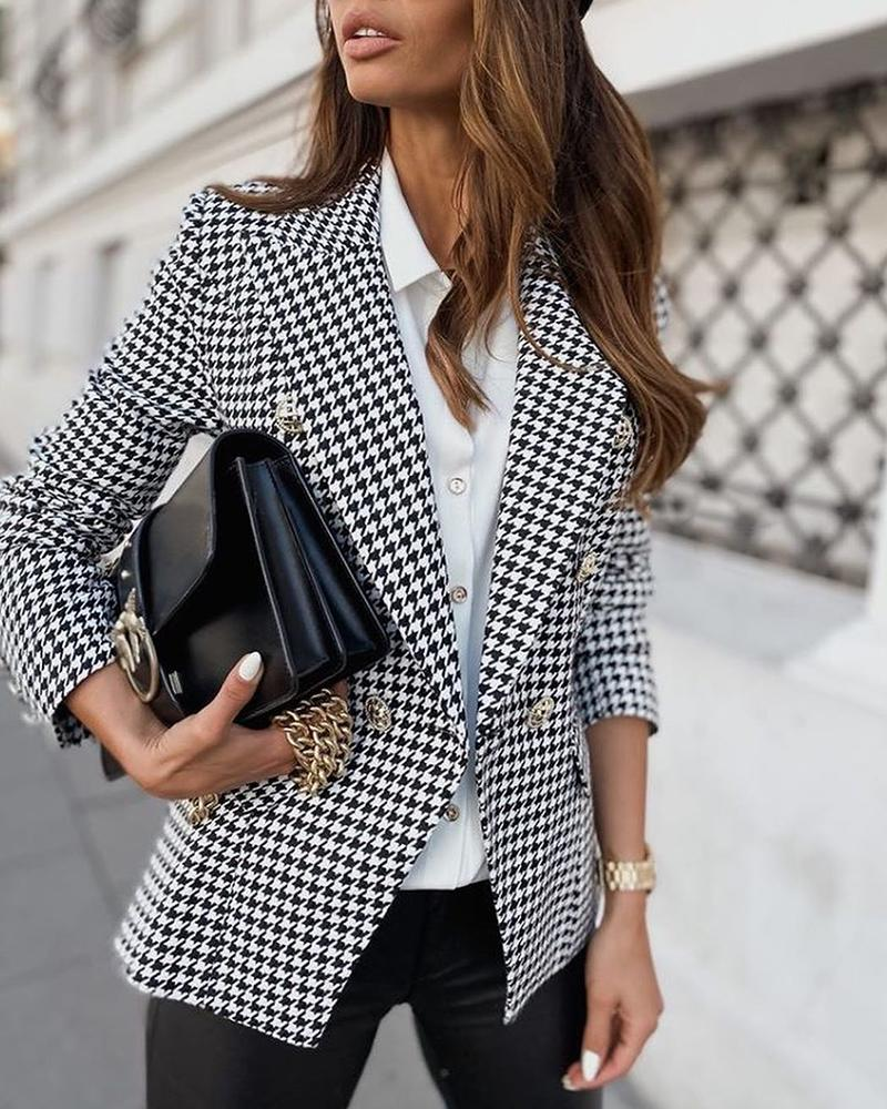 Houndstooth Print Double Breasted Blazer Coat фото