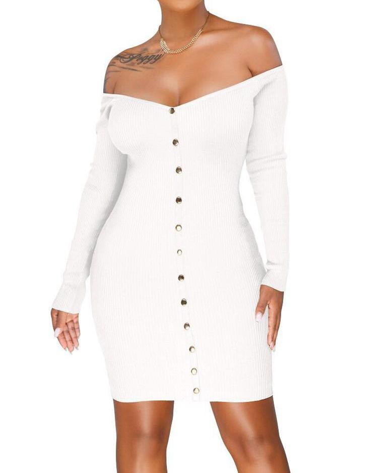 Off Shoulder Ribbed Button Through Dress фото