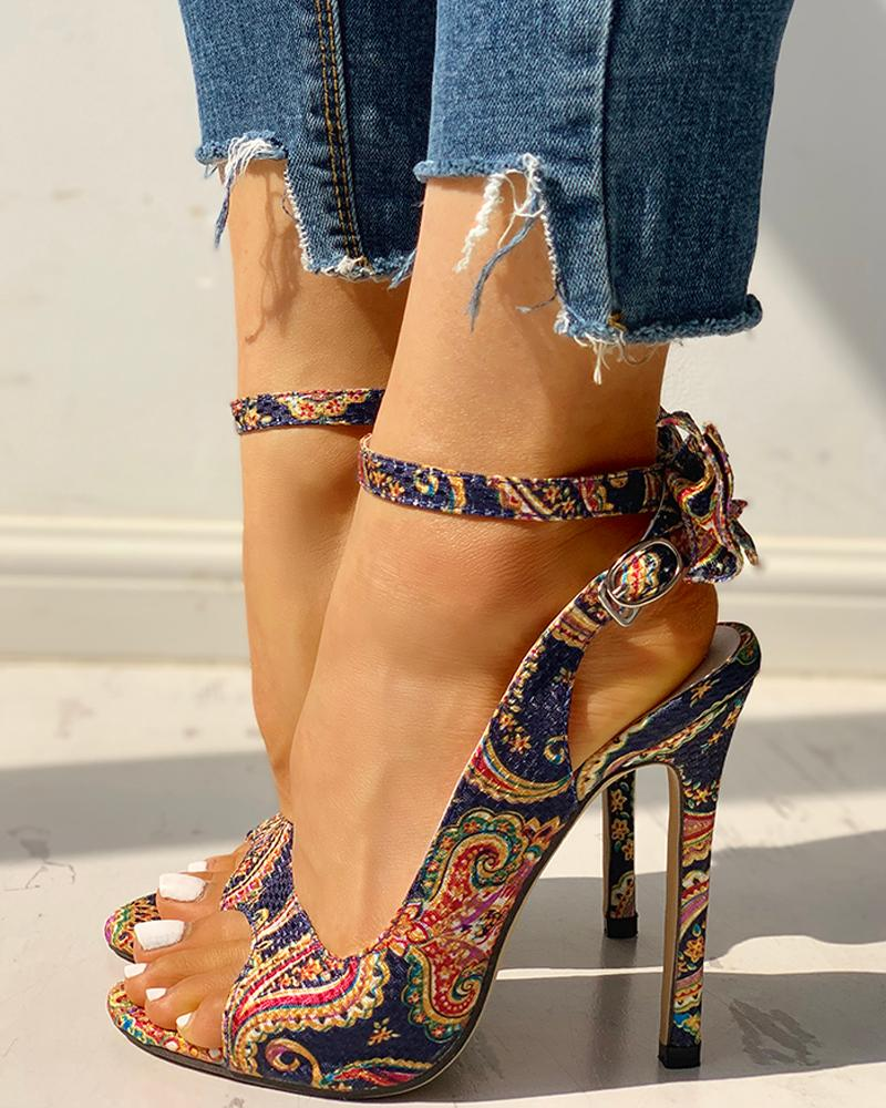 Ethnic Print Ankle Strap Slingback Thin Heeled Sandals фото