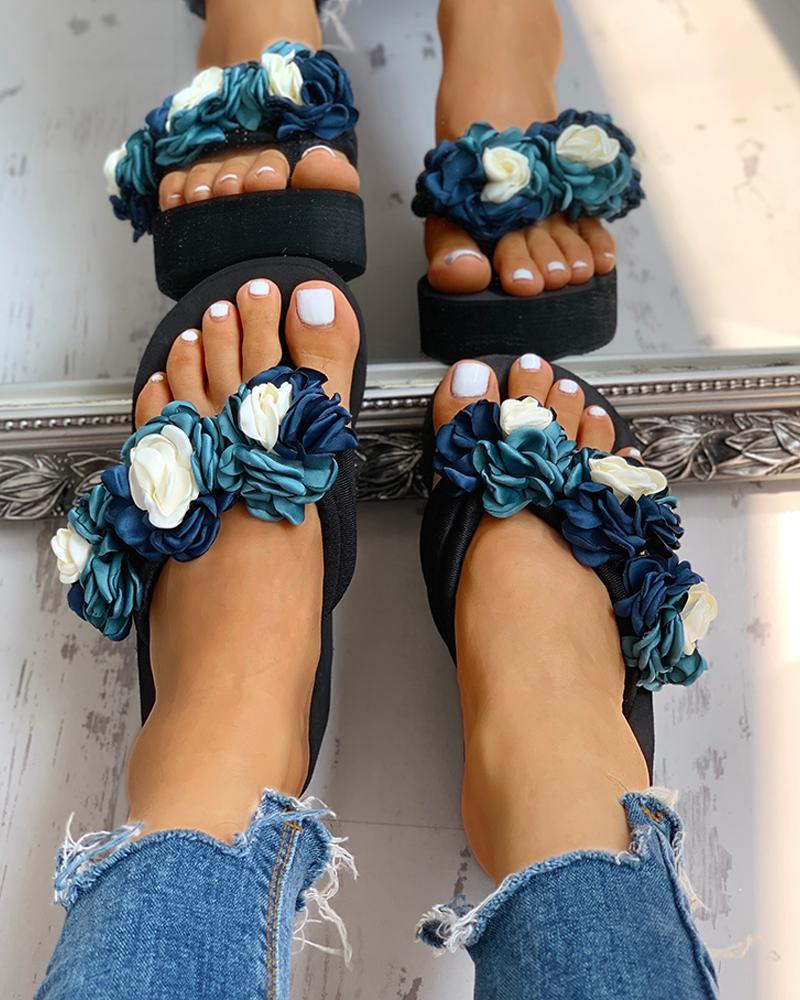 Ruched Flower Embellished Platform Sandals фото