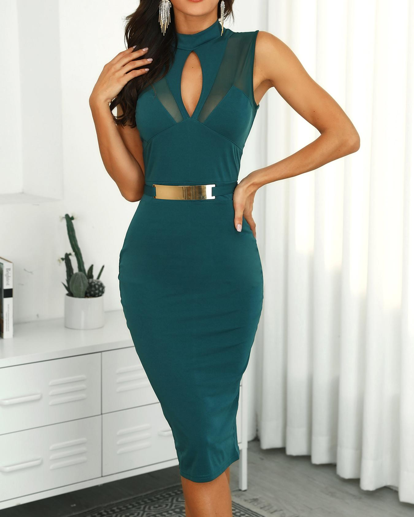 Mesh Insert Cutout Front Midi Dress, Green