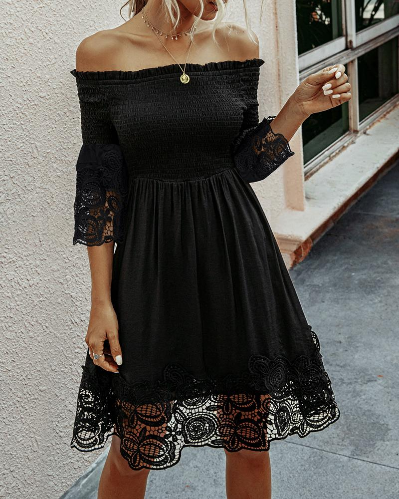 chicme / Fora do ombro Crochet Lace Insert Shirring Dress