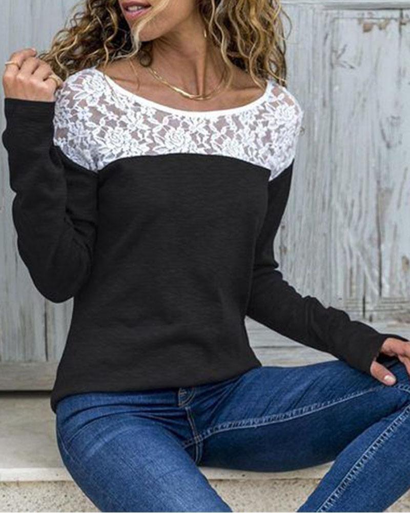 Long Sleeve Lace Yoke Top фото