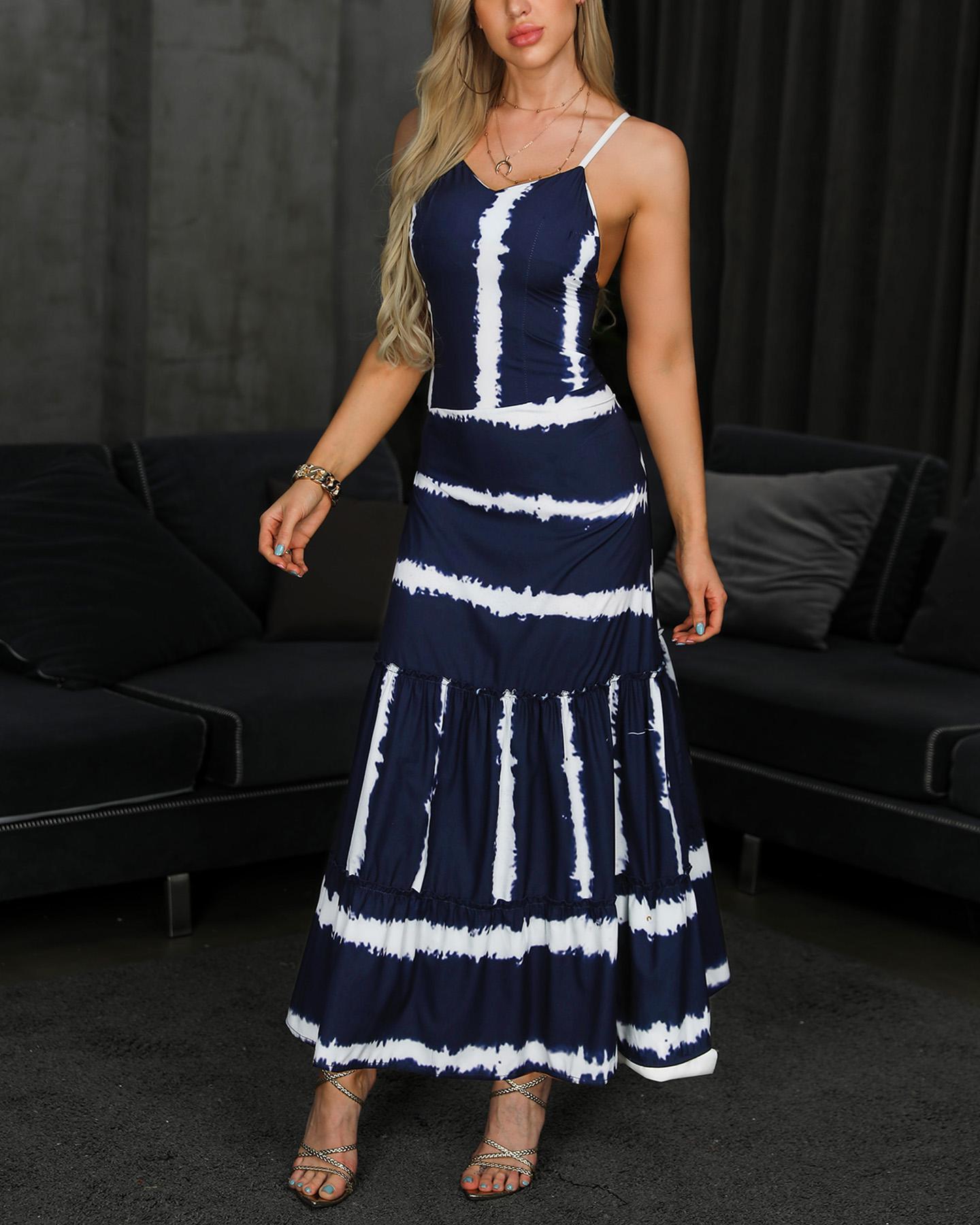 Tie Dye Print Spaghetti Strap Maxi Dress фото