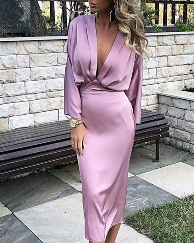 ivrose / Solid Plunge Ruched Tight Waist Dress