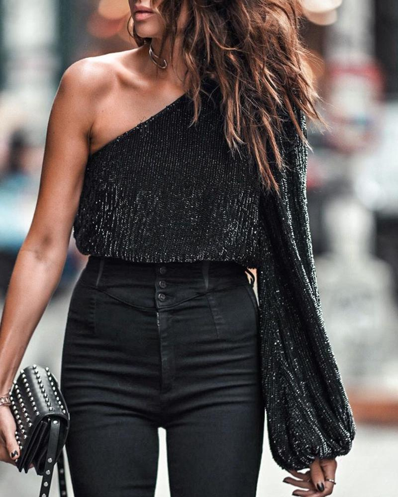 Sequins Tied Backless One Shoulder Blouse фото