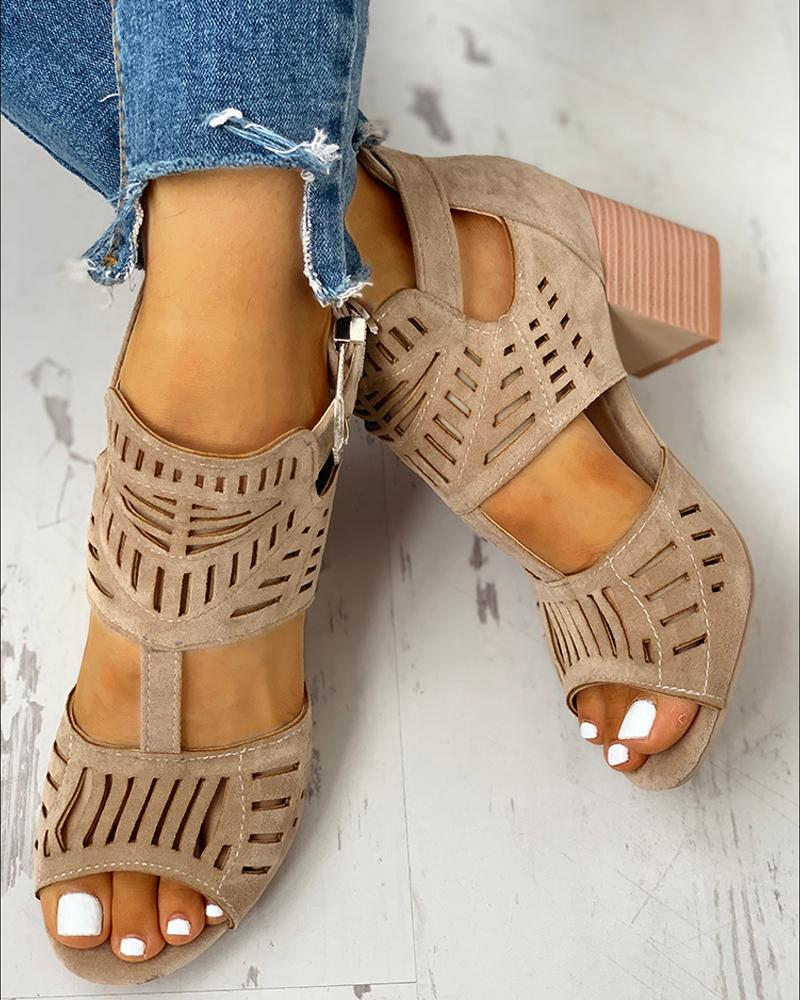 Solid Hollow Out Chunky Sandals фото