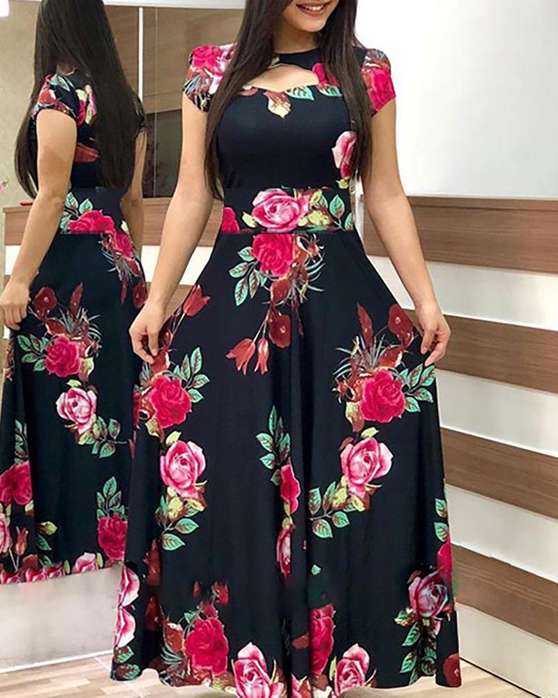 ivrose / Short Sleeve Cutout Print Maxi Dress