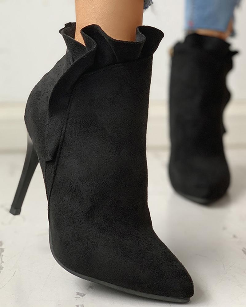 joyshoetique / Pointed Toe Zipper Design Thin Heeled Boots