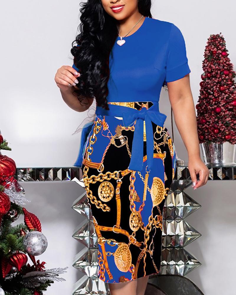 Chain Print Patchwork Tie Waist Midi Dress