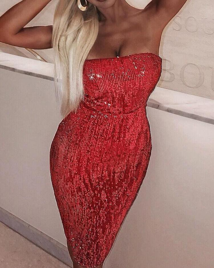 Tube Sequin Party Dress фото