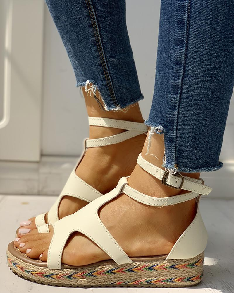 Toe Ring Cut Out Espadrille Platform Sandals