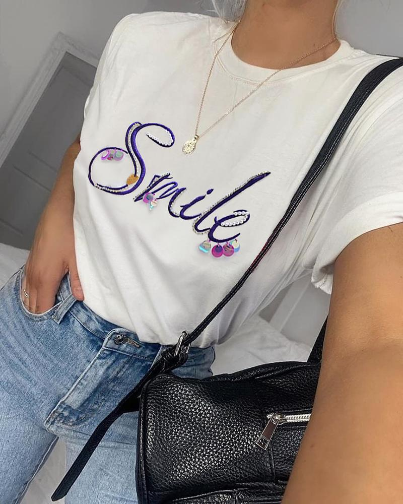 Sequins Letter Embroidery Casual T-shirt фото