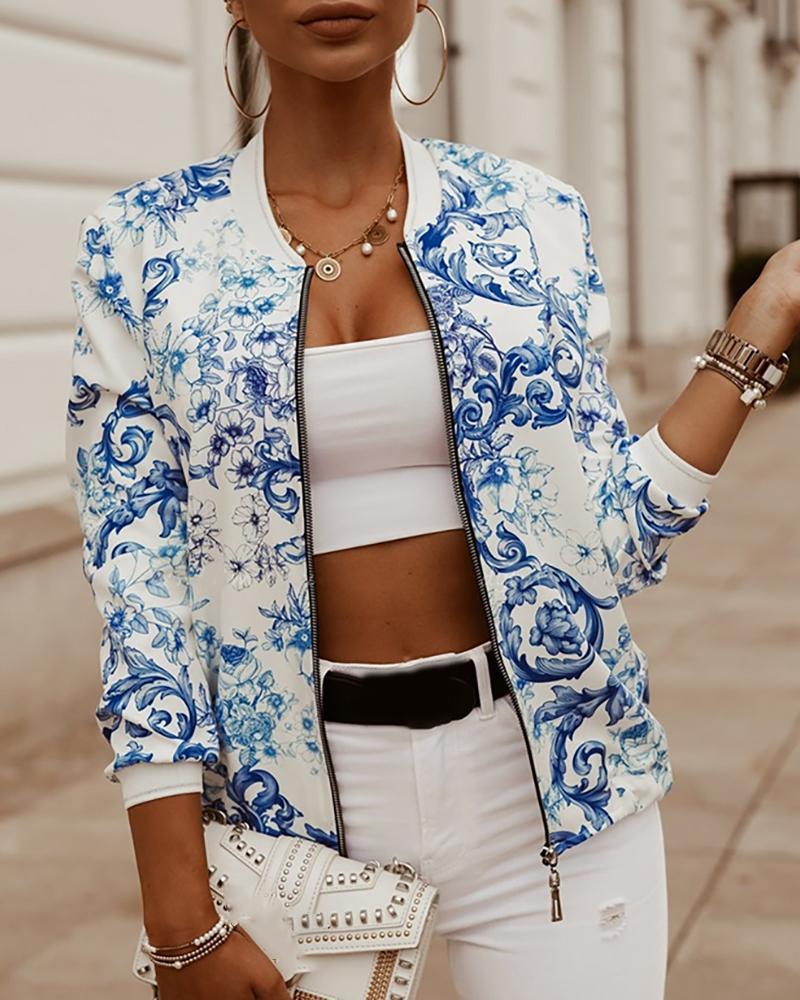 Baroque Print Zipper Design Jacket фото
