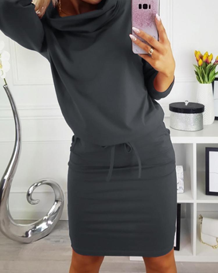 Cowl Neck Drawstring Sweatshirt Dress фото