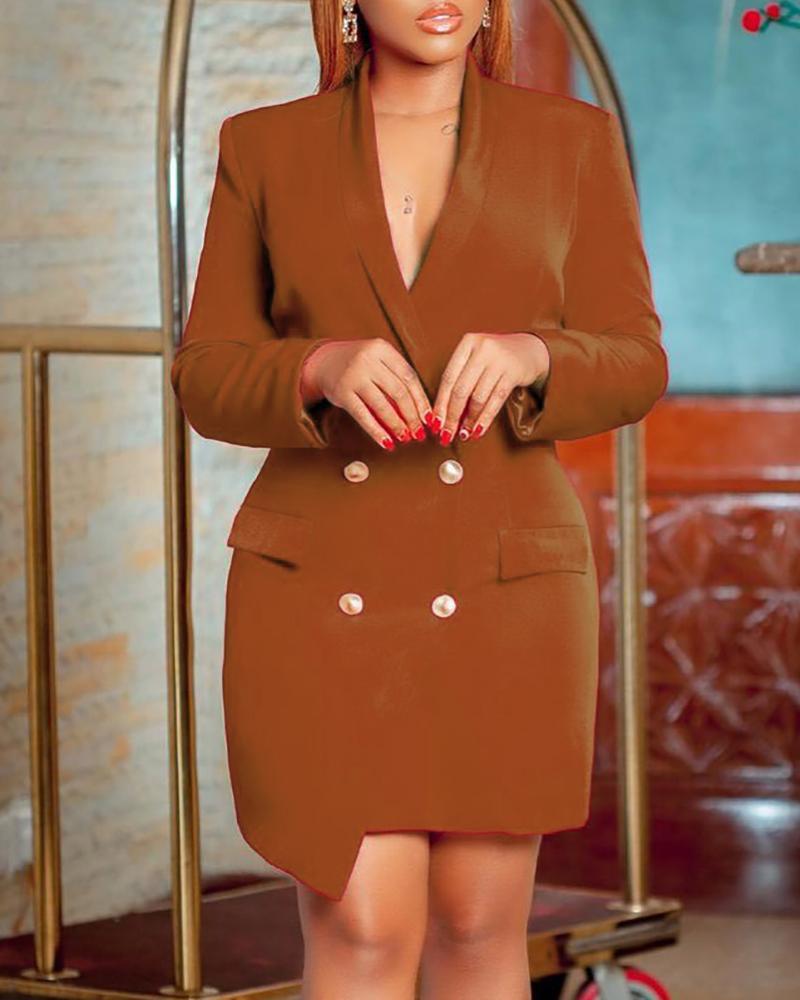 Button Decor Long Sleeve Blazer Dress