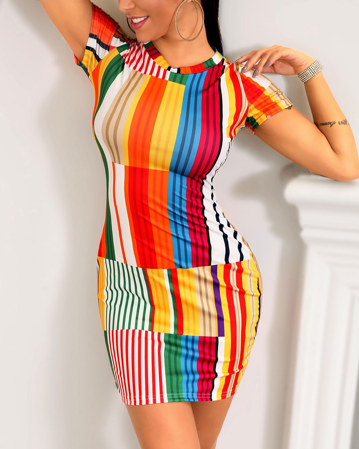 Sexy Striped Printed Bodycon Mini Dress