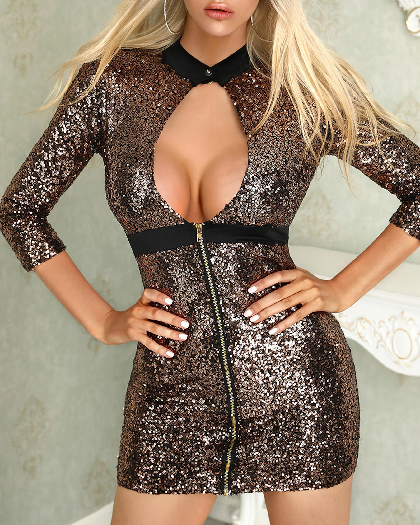 Binding Open Front Sequin Party Dress