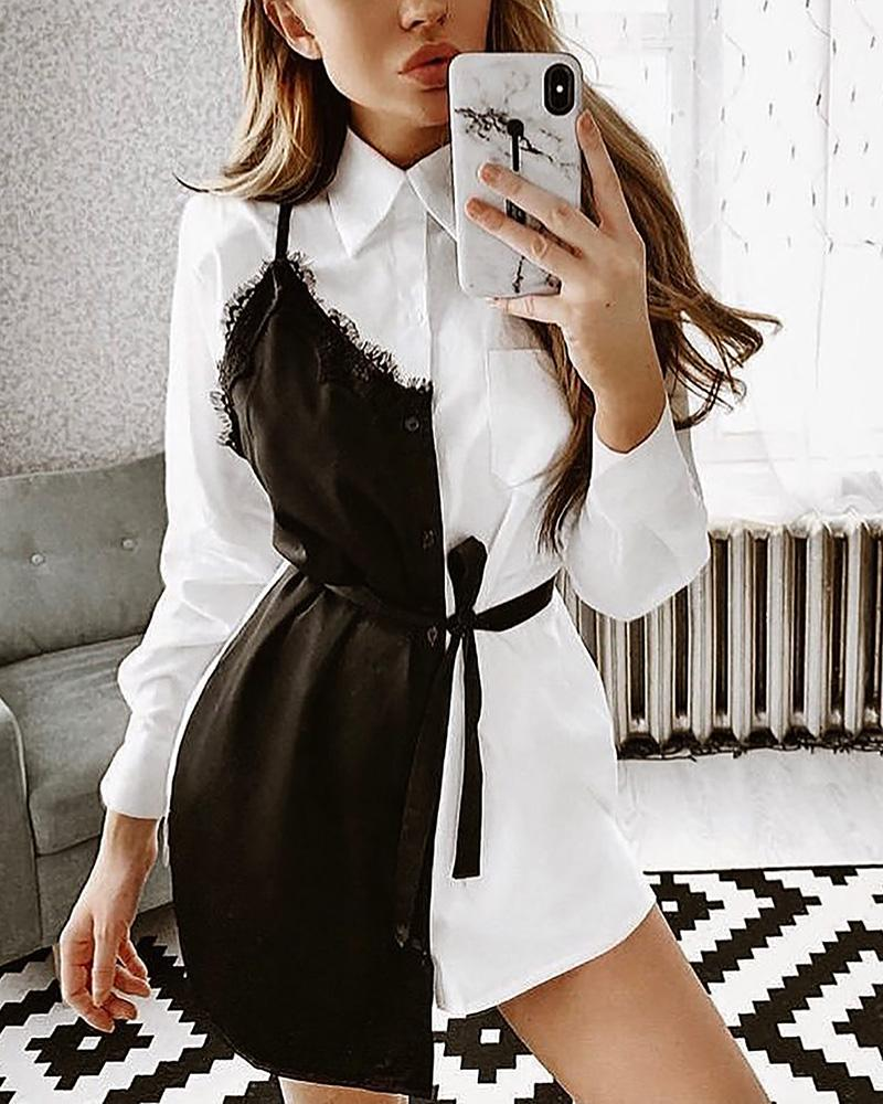 chicme / Contrast Color Eyelash Lace Insert Shirt Dress