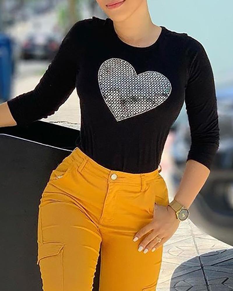 Hot Stamping Heart Pattern T-shirt фото
