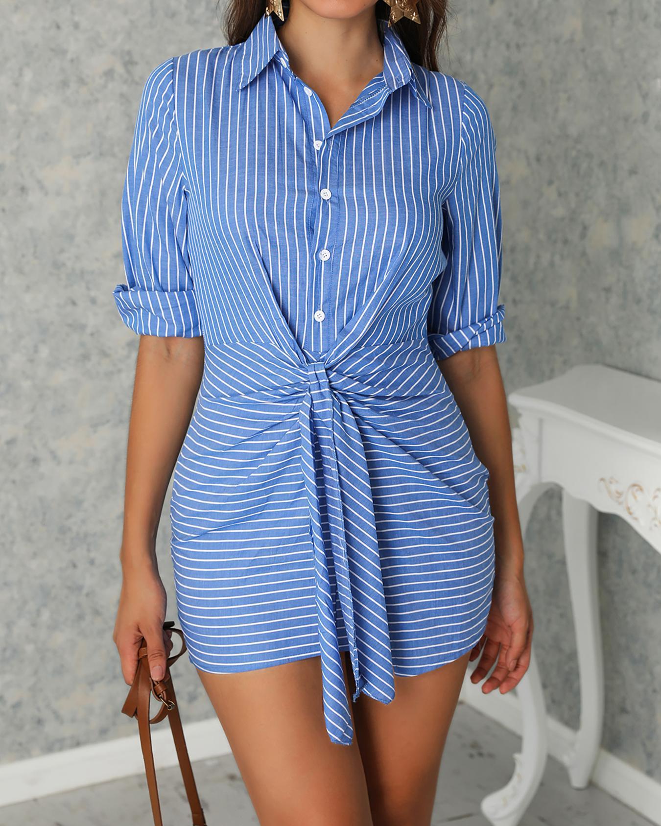 Vertical Stripes Button Knot Waist Shirt Dress, Blue