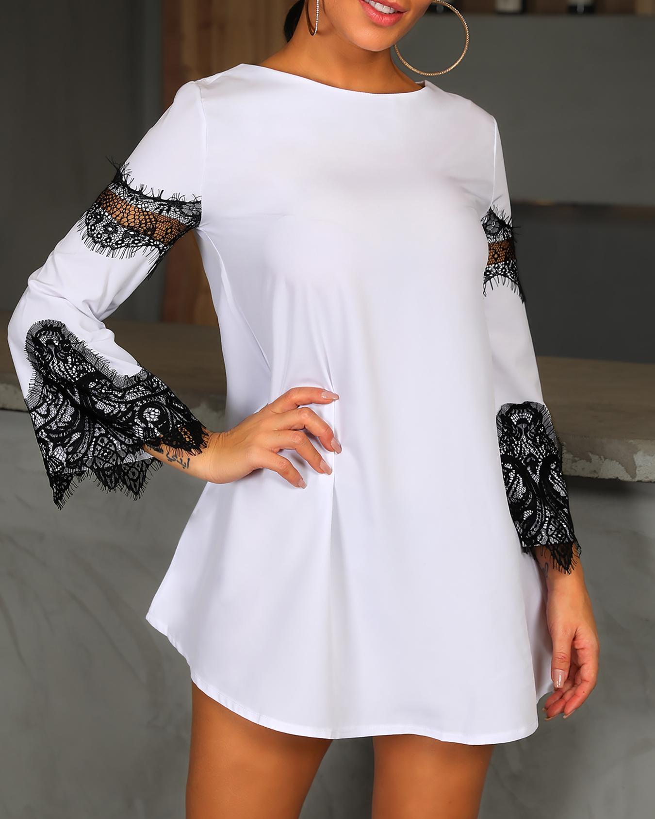 boutiquefeel / Vestido informal con manga de campana y encaje