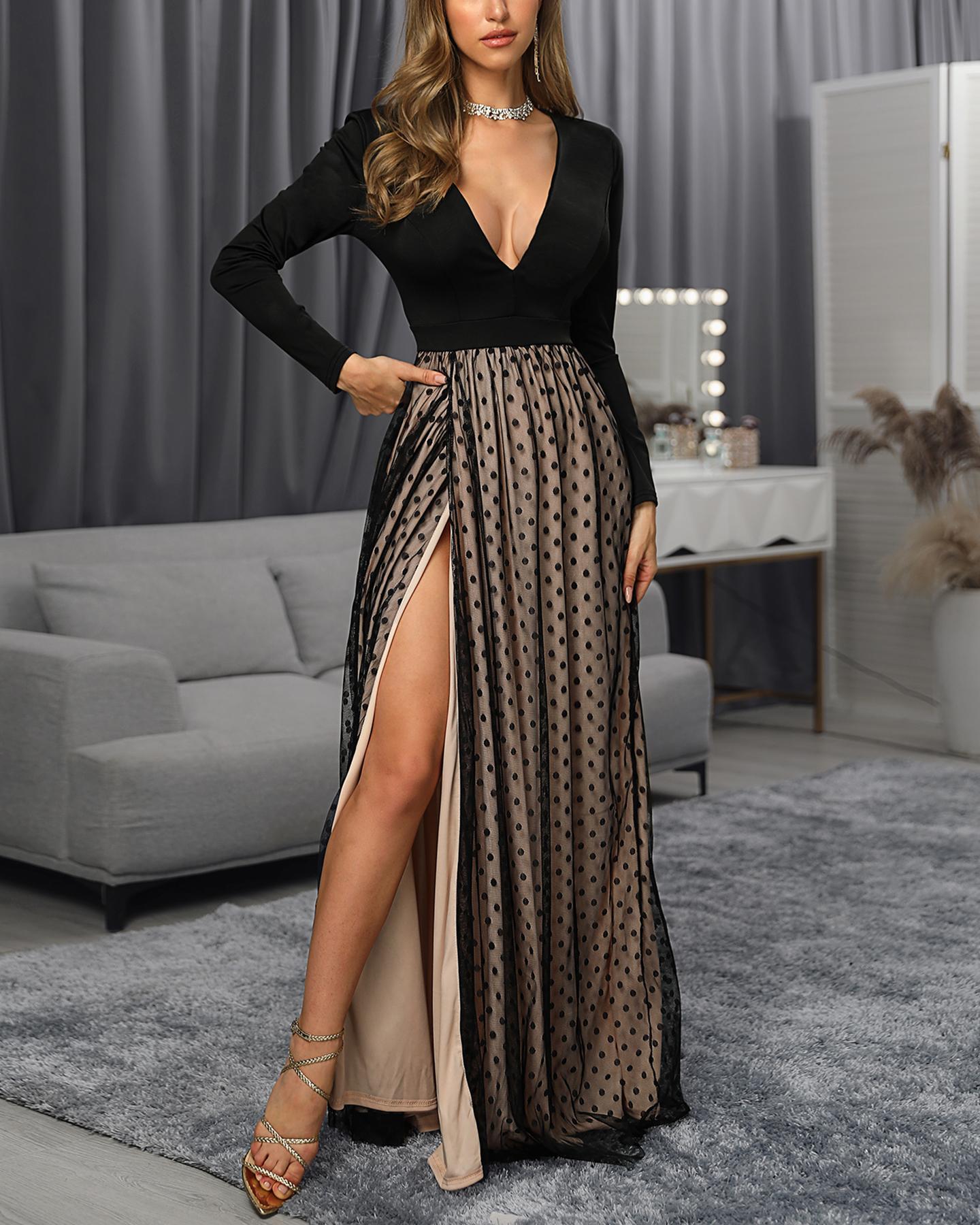 Deep V Mesh Maxi Dress фото