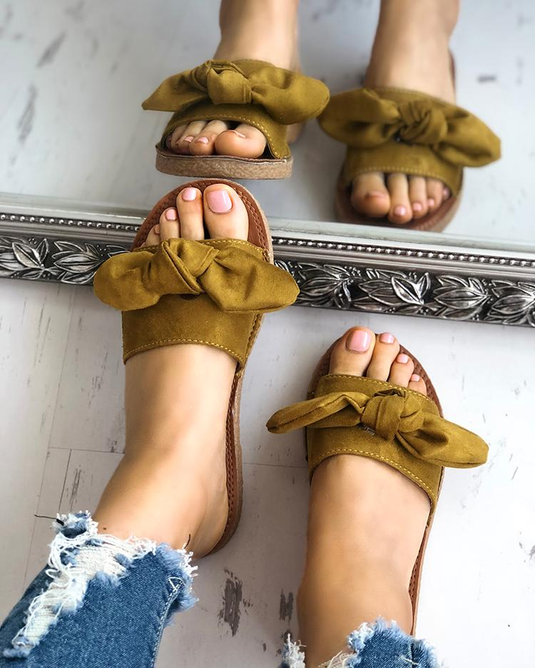 Fashion Bowknot Decorated Flat Sandals фото