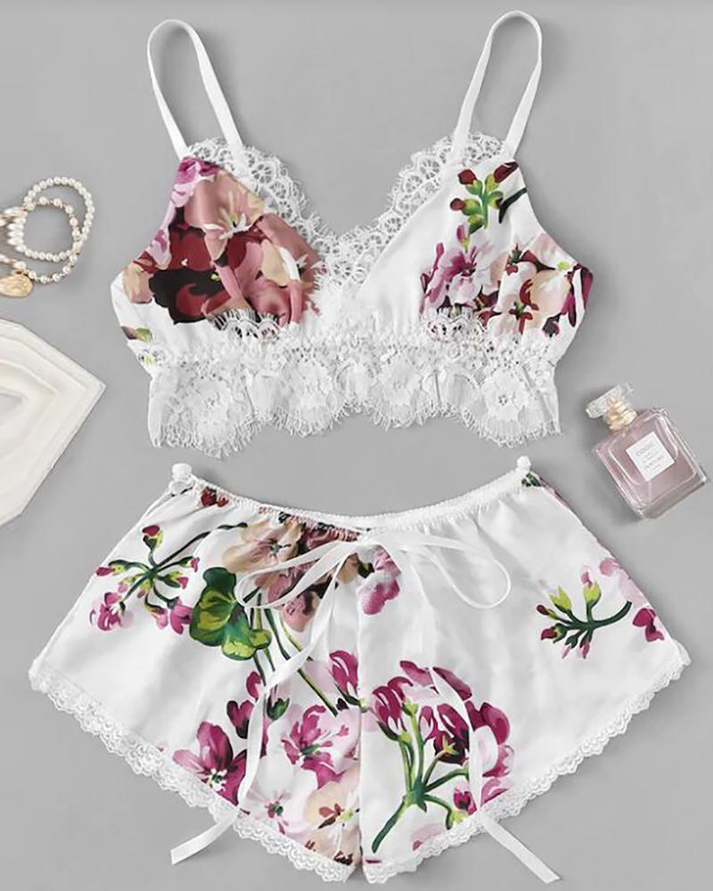 Floral Print Lace Trim Cami Set фото