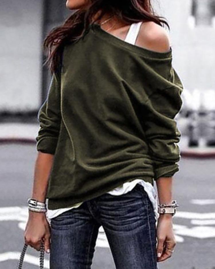 Solid Skew Neck Long Sleeve Casual T-Shirt фото