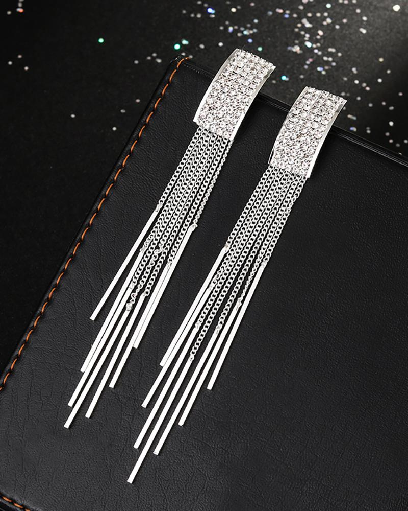Studded Tassel Geometry Pattern Dangle Drop Earring фото