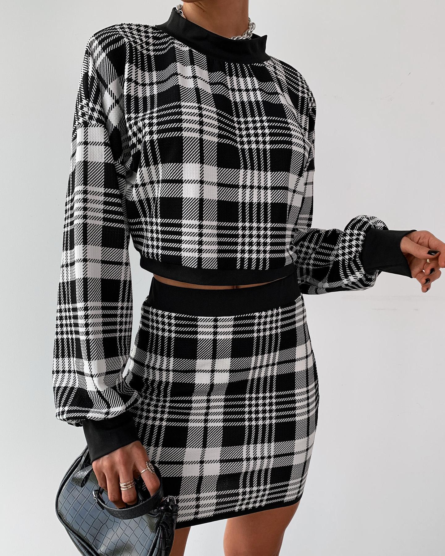 Grid Long Sleeve Crop Top & Mini Skirt Sets фото