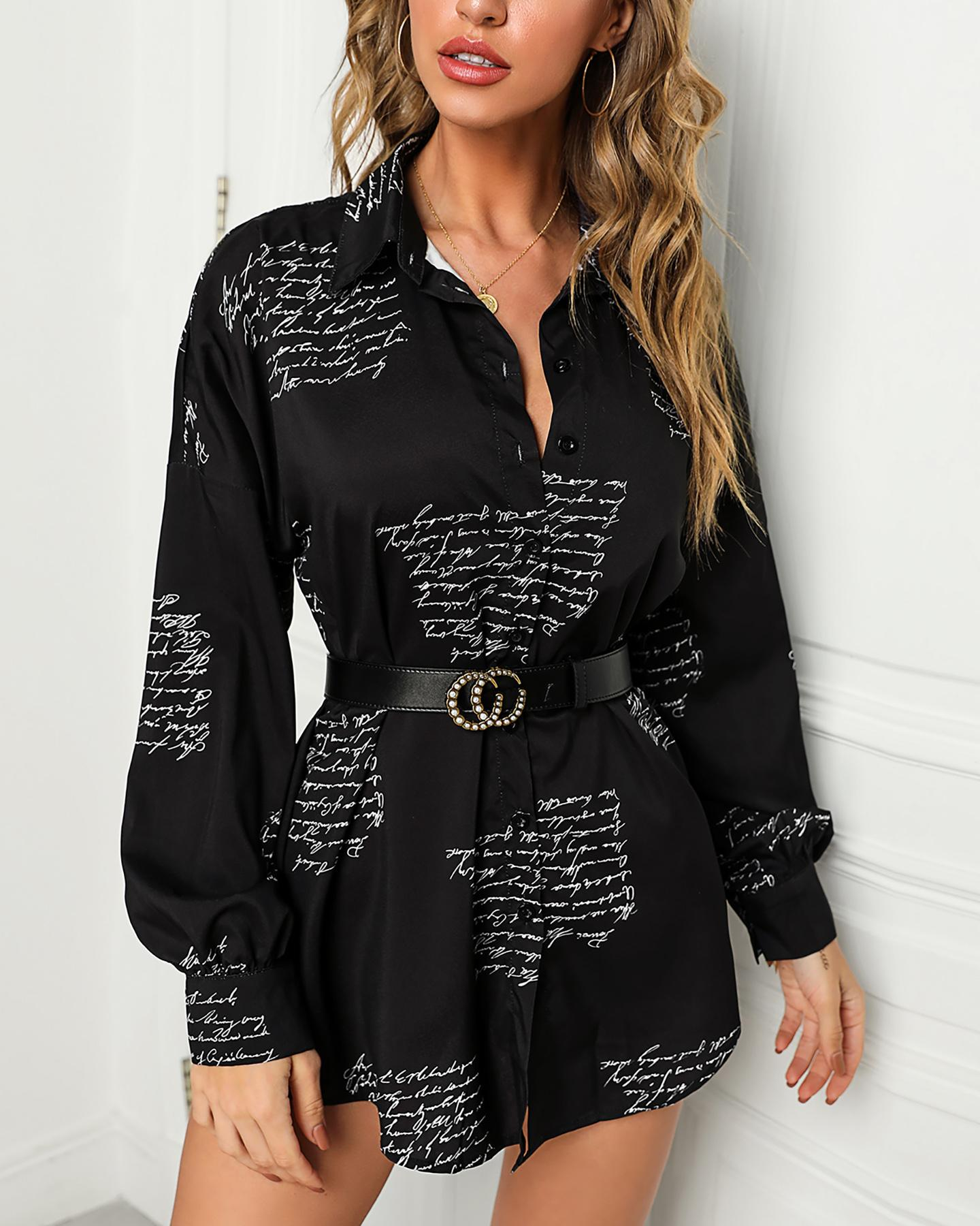 Letter Print Shirt Mini Dress фото
