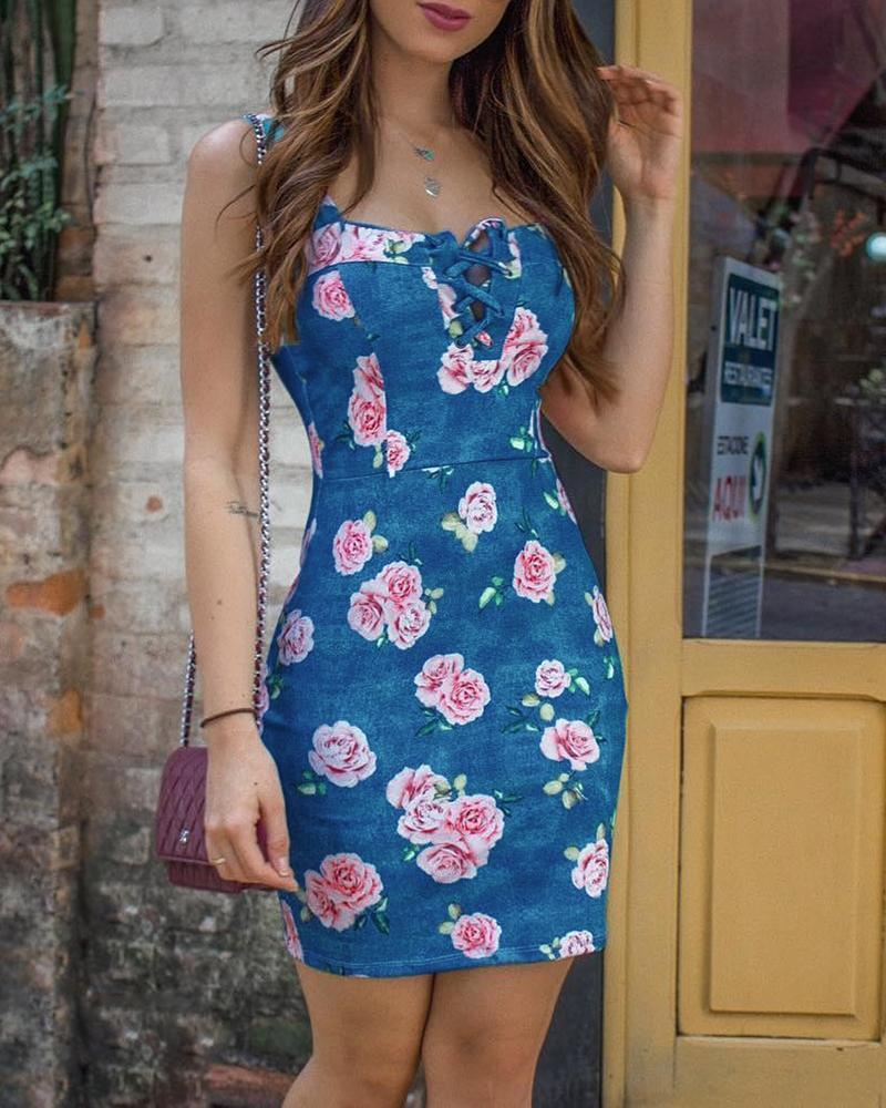 Thin Strap Floral Print Lace-Up Bodycon Dress